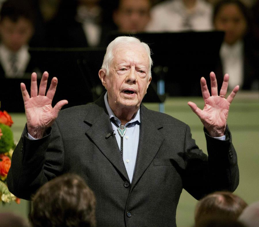 En esta imagen de archivo, el expresidente estadounidense Jimmy Carter en la Iglesia Bautista Maranatha en Plains, Georgia, el 23 de agosto de 2015. (AP / David Goldman) (semisquare-x3)