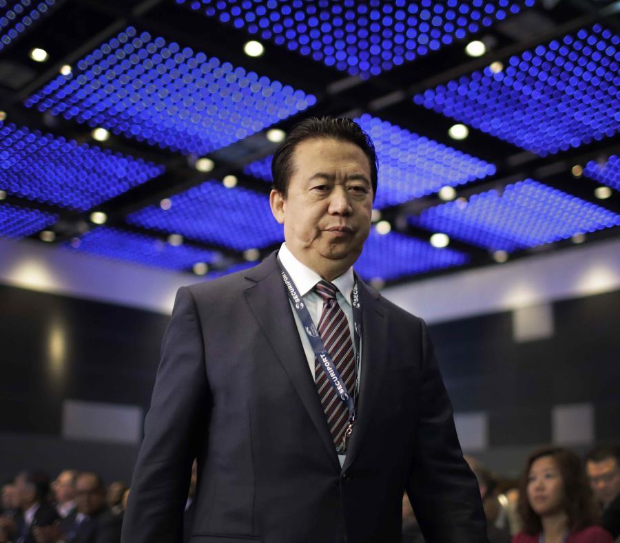 El presidente de Interpol, Meng Hongwei en el congreso Interpol World en Singapur. (semisquare-x3)