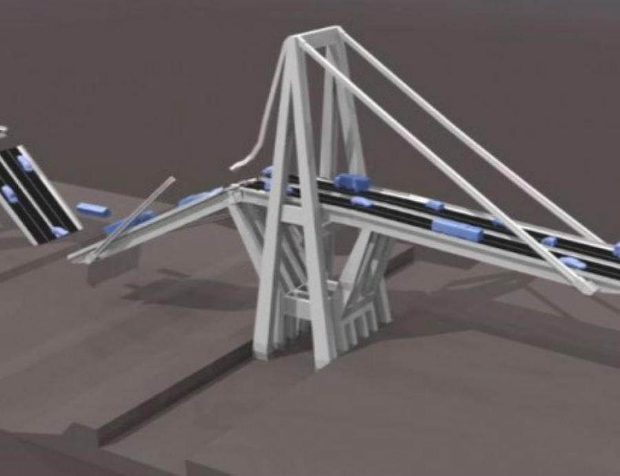 Recrean en un impactante vídeo en 3D el derrumbe del puente de Génova (semisquare-x3)