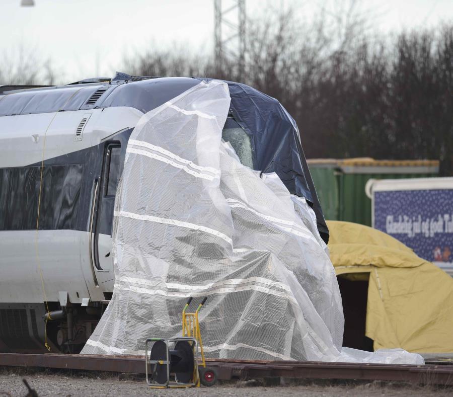 El tren involucrado en el accidente en Nyborg, Dinamarca, el 3 de enero del 2019.  (AP) (semisquare-x3)