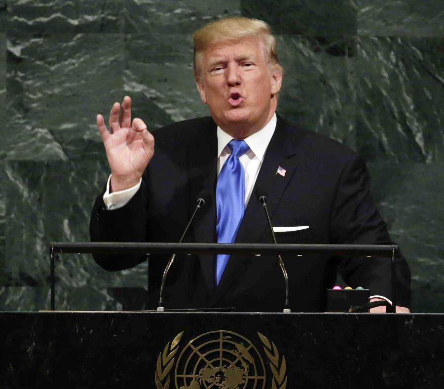 El presidente Donald Trump habla desde la tribuna de la Asamblea General de Naciones Unidas. (AP) (semisquare-x3)
