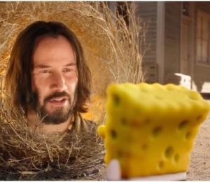 """Keanu Reeves aparece en el nuevo tráiler de la película de """"SpongeBob"""""""