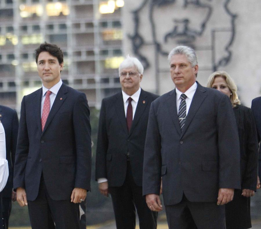 El primer ministro de Cánada, Justin Trudeau, y el mandatario cubano, Miguel Díaz-Canel Bermúdez. (EFE) (semisquare-x3)