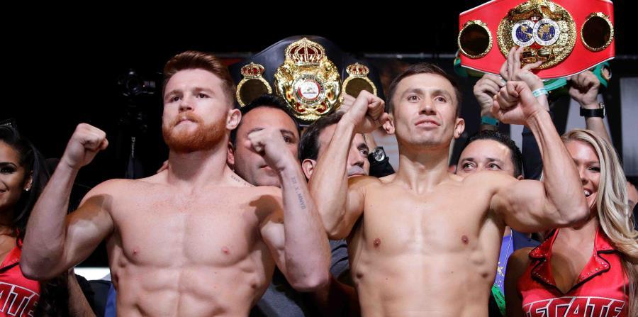 Golovkin (derecha) tenía una agenda un combate con Canelo Alvárez (izquierda) en Las Vegas pero fue cancelado cuando el mexicano falló en una prueba de dopaje. (horizontal-x3)