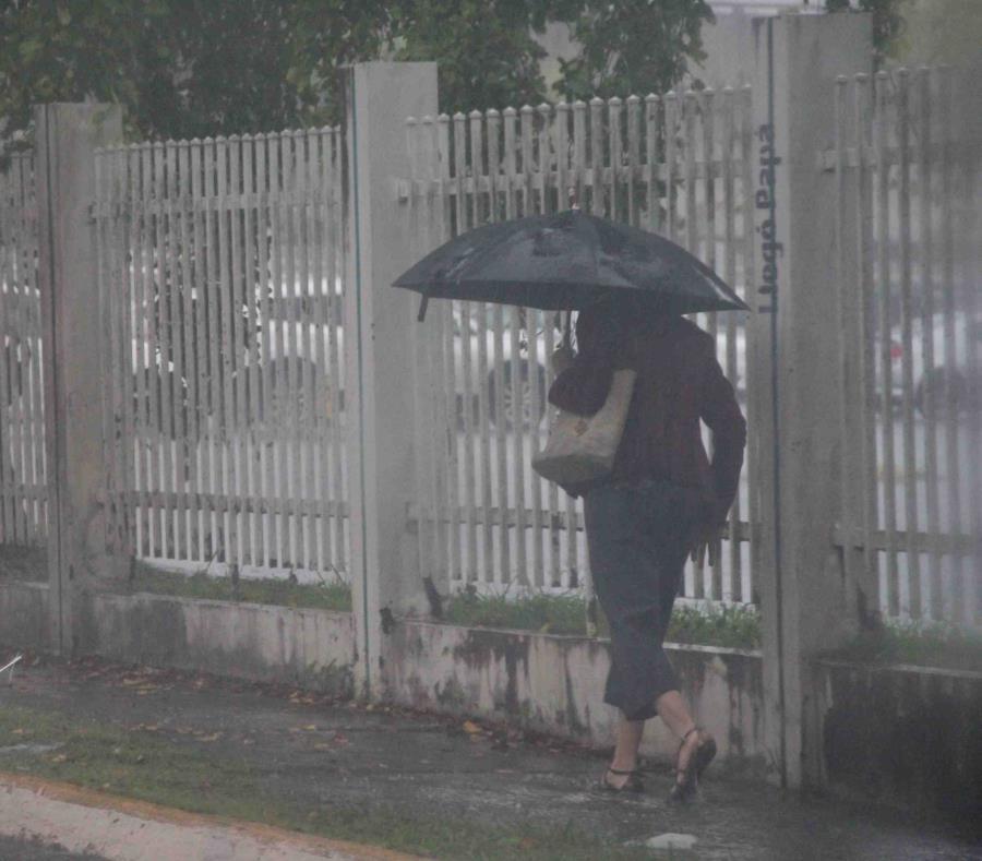 Una mujer camina por la zona de Río Piedras con una sombrilla en mano. (GFR Media) (semisquare-x3)
