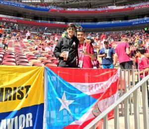 Una bandera de Puerto Rico estuvo presente en el partido de Portugal