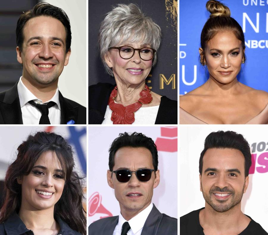 Lin-Manuel Miranda, Rita Moreno, Jennifer López, Camilla Cabello, Marc Anthony y Luis Fonsi (semisquare-x3)