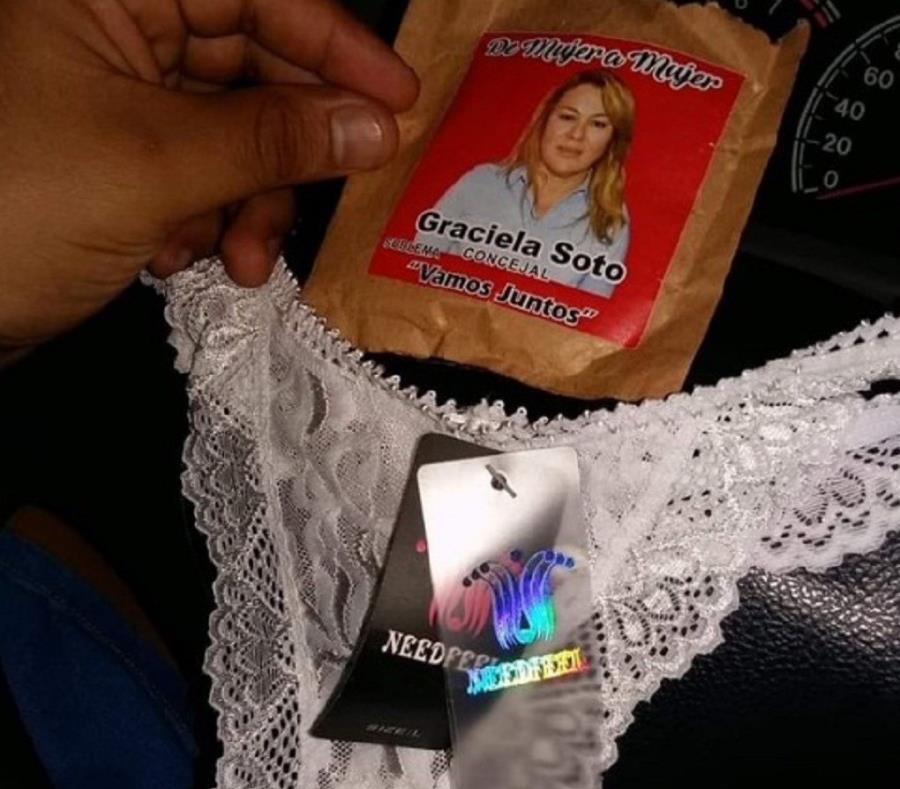 A la candidata a concejala Graciela Soto no se le ocurrió mejor idea de  campaña para captar el voto femenino regalando ropa interior. (Twitter / @di_nucci) (semisquare-x3)
