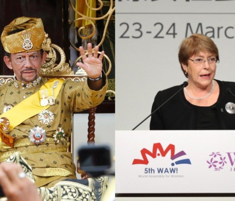 El sultán Hassanal Bolkiah y la alta comisionada de la ONU para los derechos humanos, Michelle Bachelet (semisquare-x3)