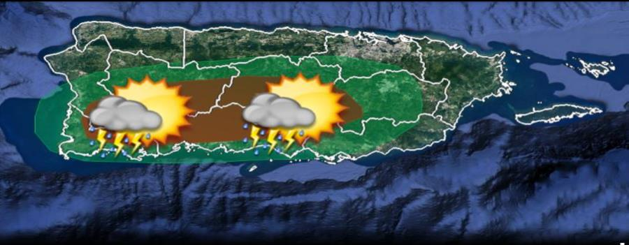Mapa con el pronóstico de lluvia para la tarde. (horizontal-x3)