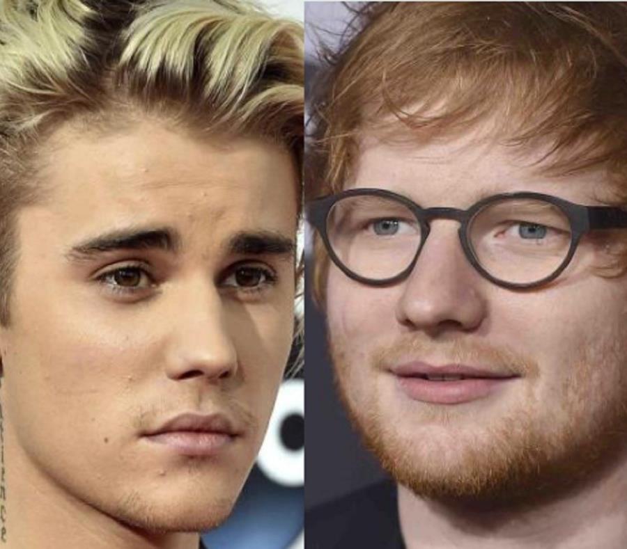 Justin Bieber y Ed Sheeran (semisquare-x3)