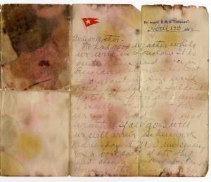 Subastan carta redactada antes de que el Titanic se hundiera